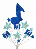 Music notes 80th birthday cake topper decoration in shades of blue - free postage